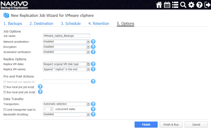 Nakivo options 2