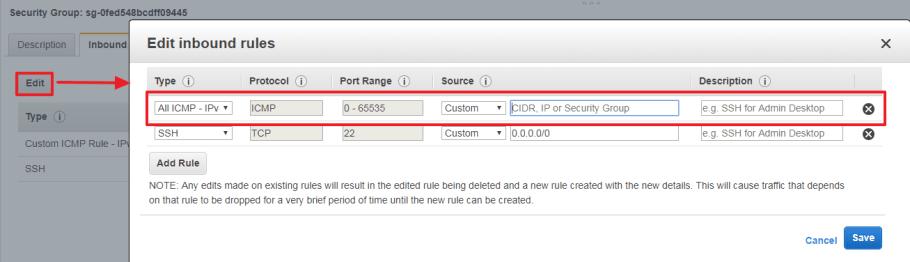 Añadir regla grupo de seguridad custom