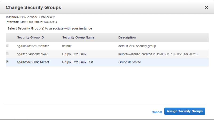cambio de Grupo de seguridad AWS