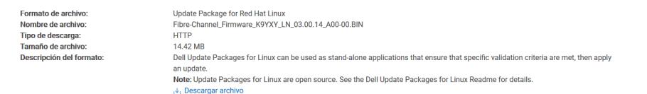Actualizar Firmware de tarjeta fibre channel fichero a descargar