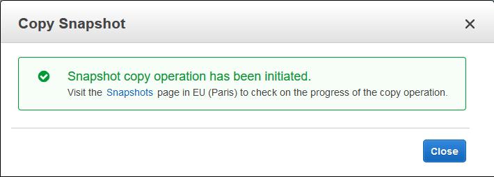 Cambiar una instancia EC2 de región copia snapshot ok