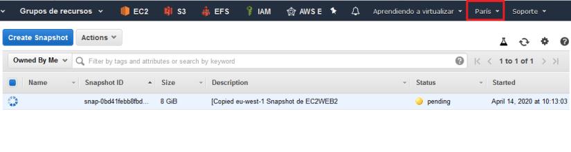 Cambiar una instancia EC2 de región copiando snapshot