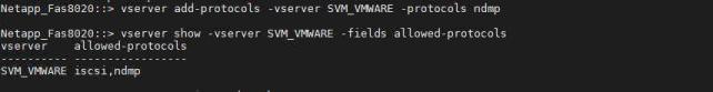 Habilitar protocolo NDMP en SVM de NetApp añadir y mostrar protocolo