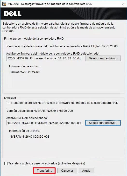 Actualizar el Firmware y NVSRAM seleccionar ficheros