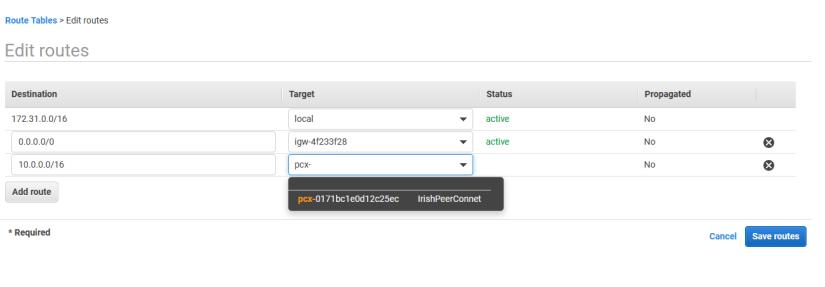 interconexión de VPC entrada tabla rutas