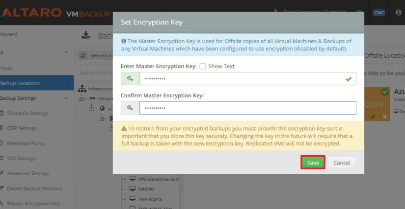 Backup offsite a Azure llave de encryptacion
