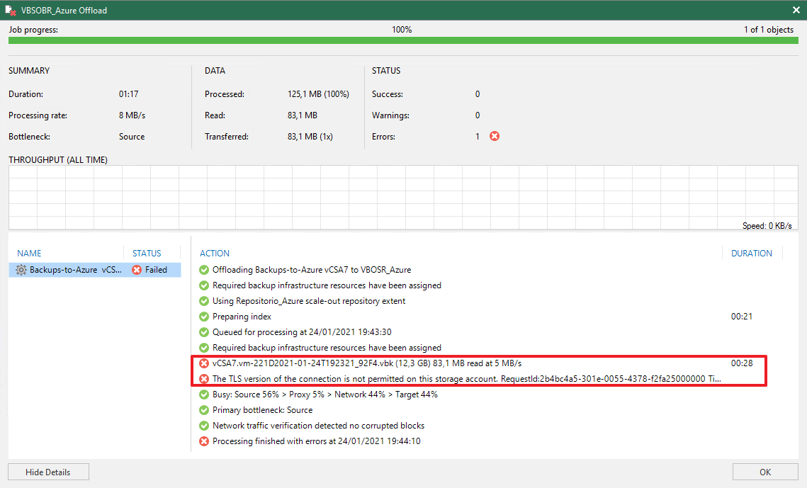 TLS version of the connection is not permitted on this storage account