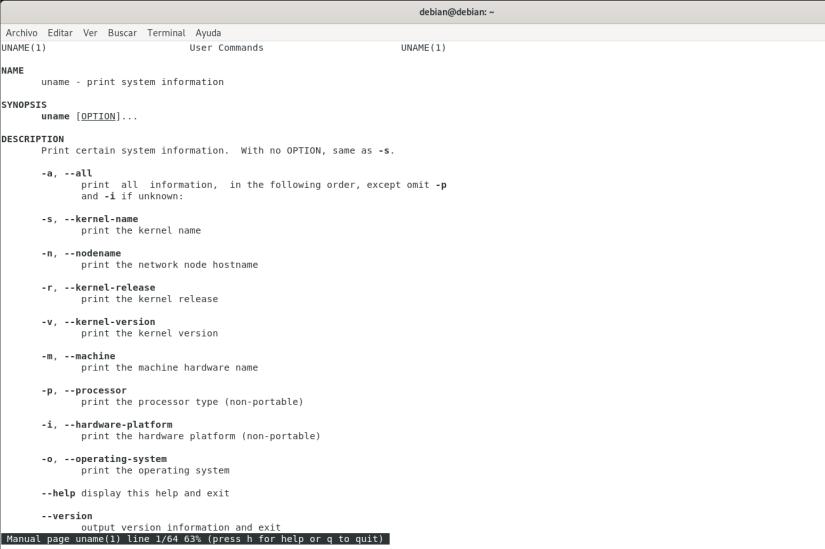 Conocer la versión de Debian y Ubuntu man uname
