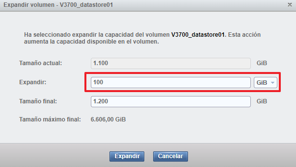 Aumentar el volumen de IBM Storwize expandir volumen