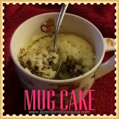 receta mug cake vainilla con pepitas de chocolate