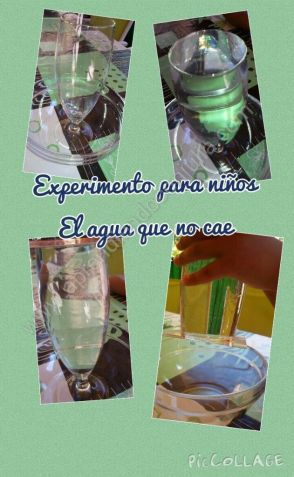 agua que no cae del vaso. Experimento para niños