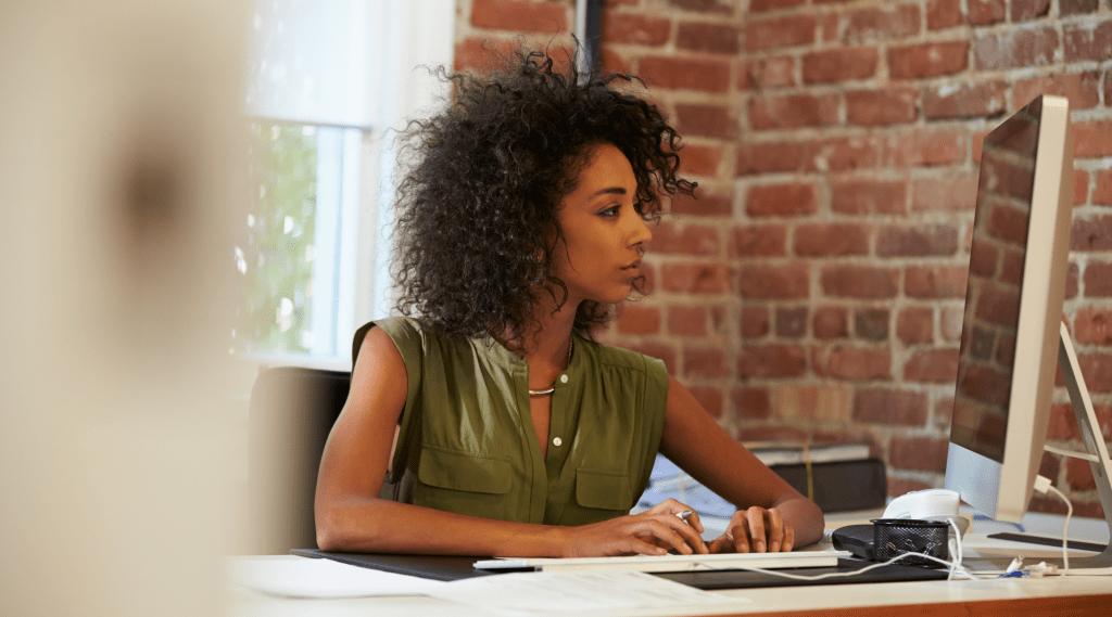 Woman researching returnship