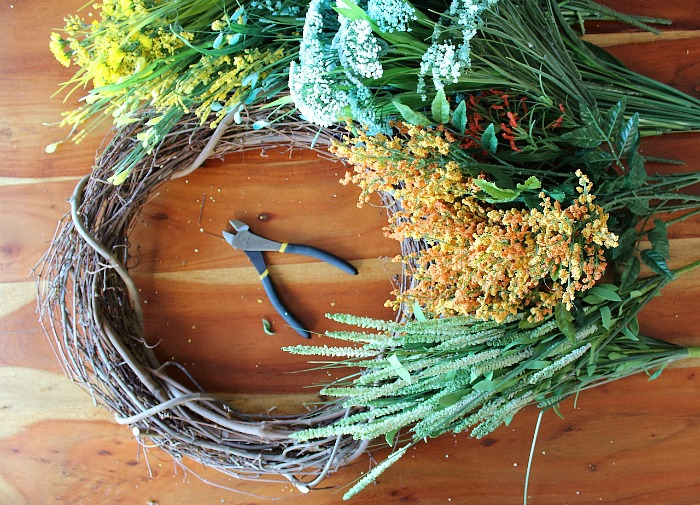 Materials Needed: DIY (faux) Wildflower Wreath