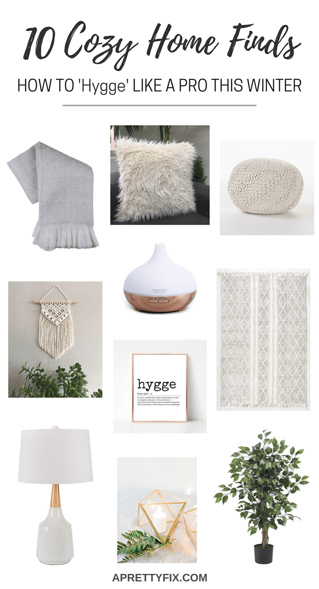Learn to 'hygge' like a pro this winter with these 10 cozy home decor finds. Click through the full source list to get this Pinterest-worthy look. (PLUS find out how to 'hygge' like a pro this winter).