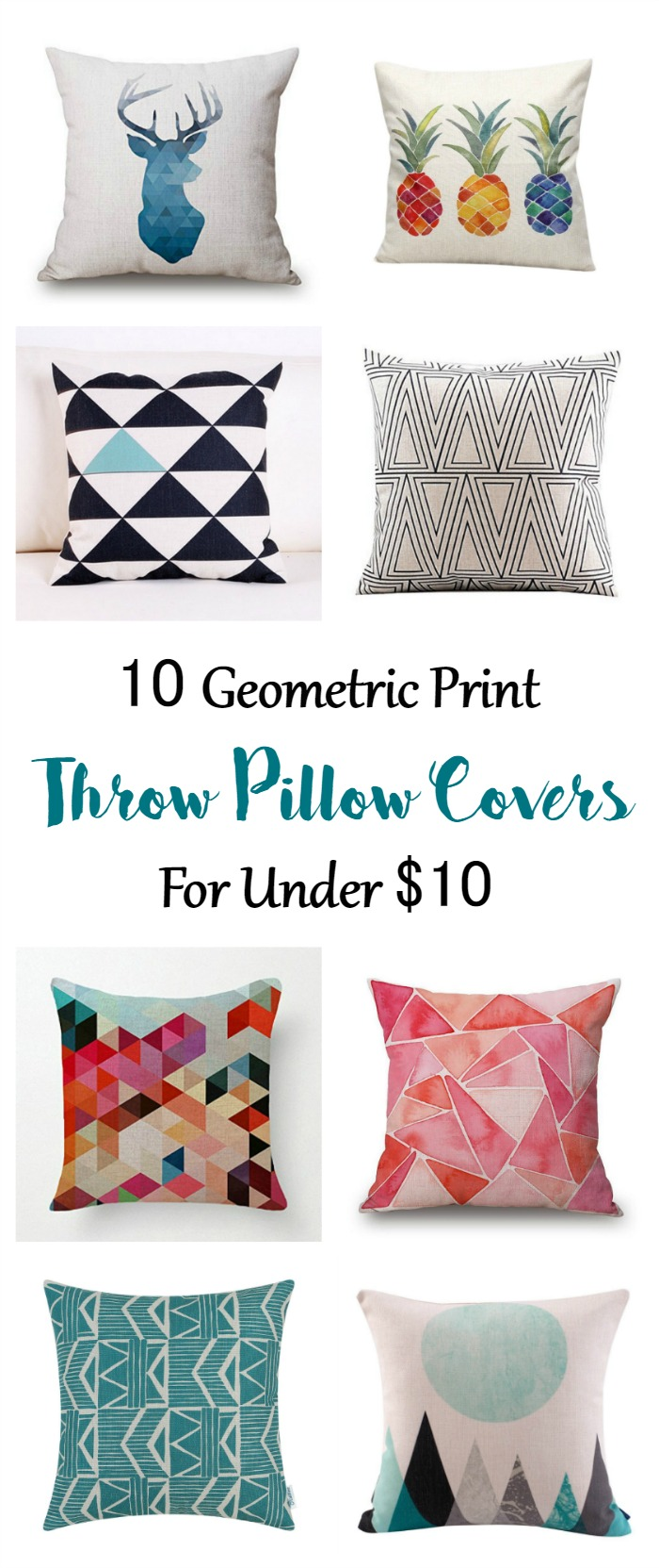 10 beautiful geometric print throw pillow covers for under $10!