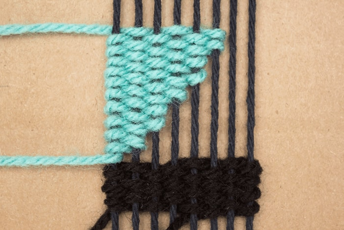 Here is a sample of the first angled weave in your DIY bookmark.
