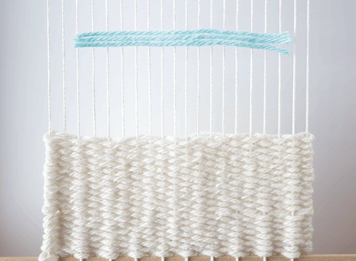 Create rya knots - lay flat - 3 mini weavings.
