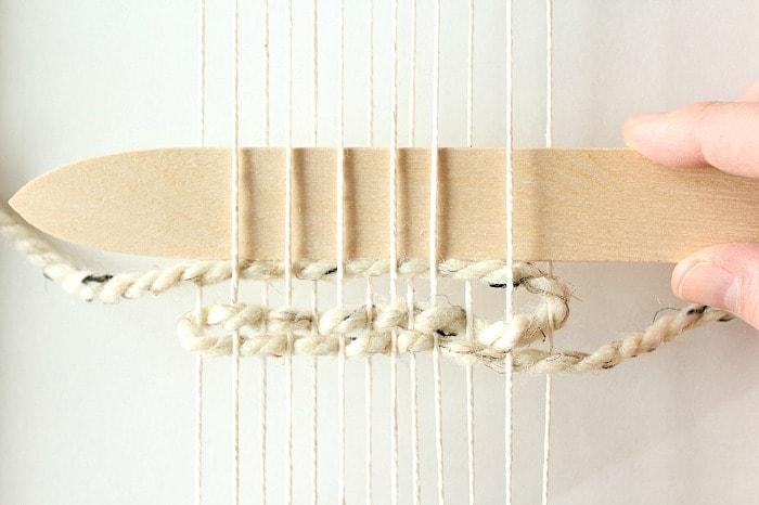 DIY mini framed weaving - slide shed stick down.