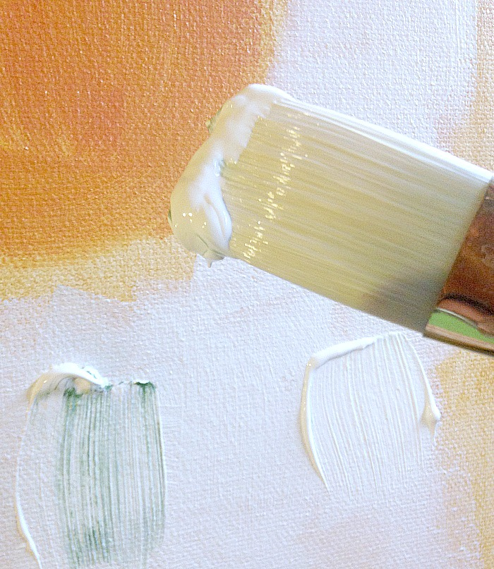How to create whitewash abstract art - load brush with white paint