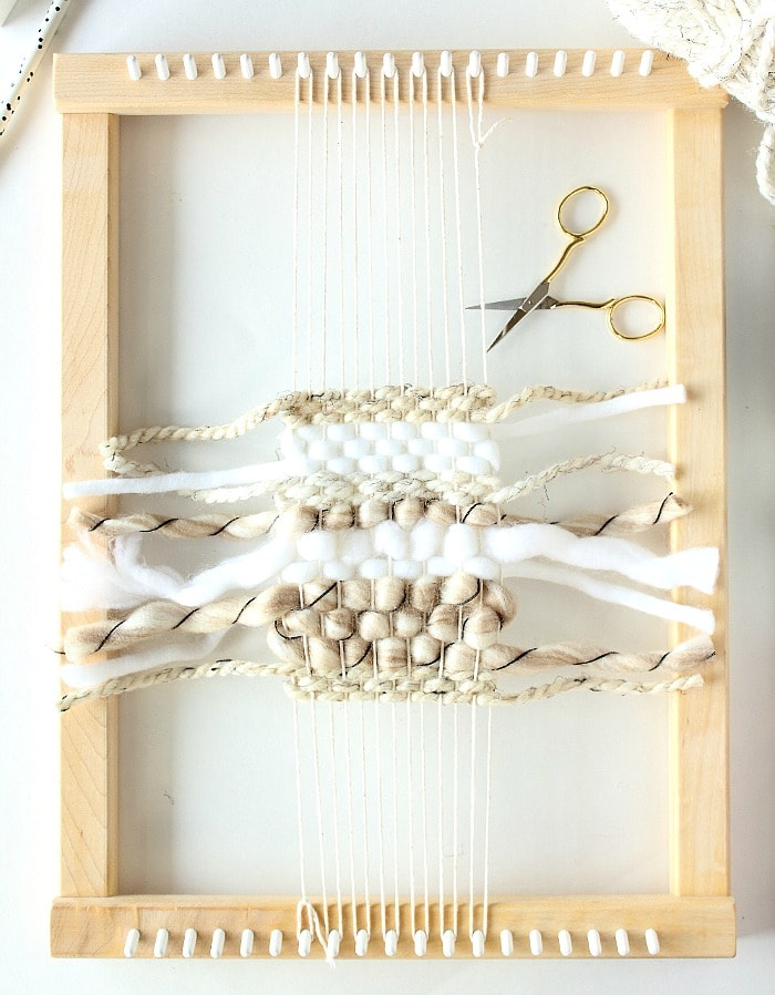DIY mini framed weaving - completed weaving.