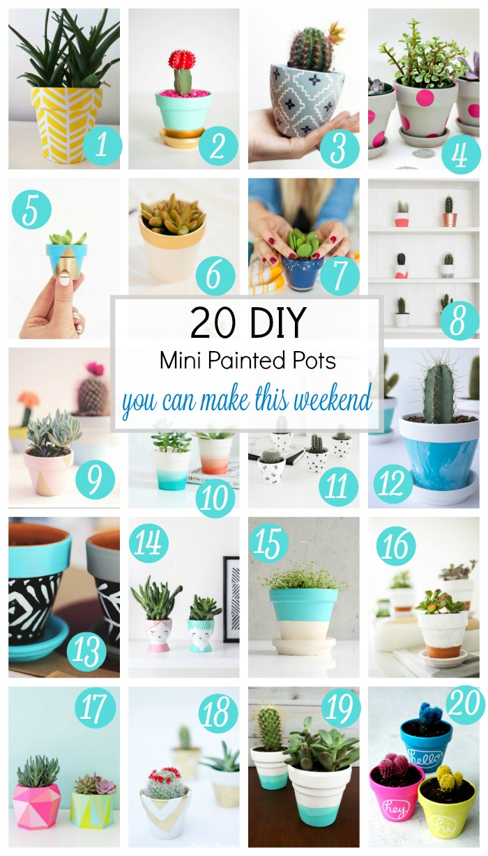 Whether you prefer neon, black and white or cheerful pops of color, you are bound to find a few projects to love in this roundup of DIY mini painted pots. It's a great way to freshen up your home, indoors or out. // via aprettyfix.com