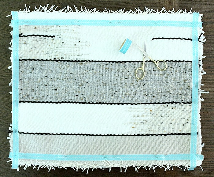 DIY Woven Pillow - tape and pin together.
