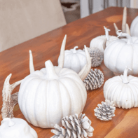 Create a stylish farmhouse feel in your fall decorating using natural elements, such as pumpkins and pinecones. See this tablescape along with the fall vignettes of six other bloggers sharing their decorating tips and tricks this fall.