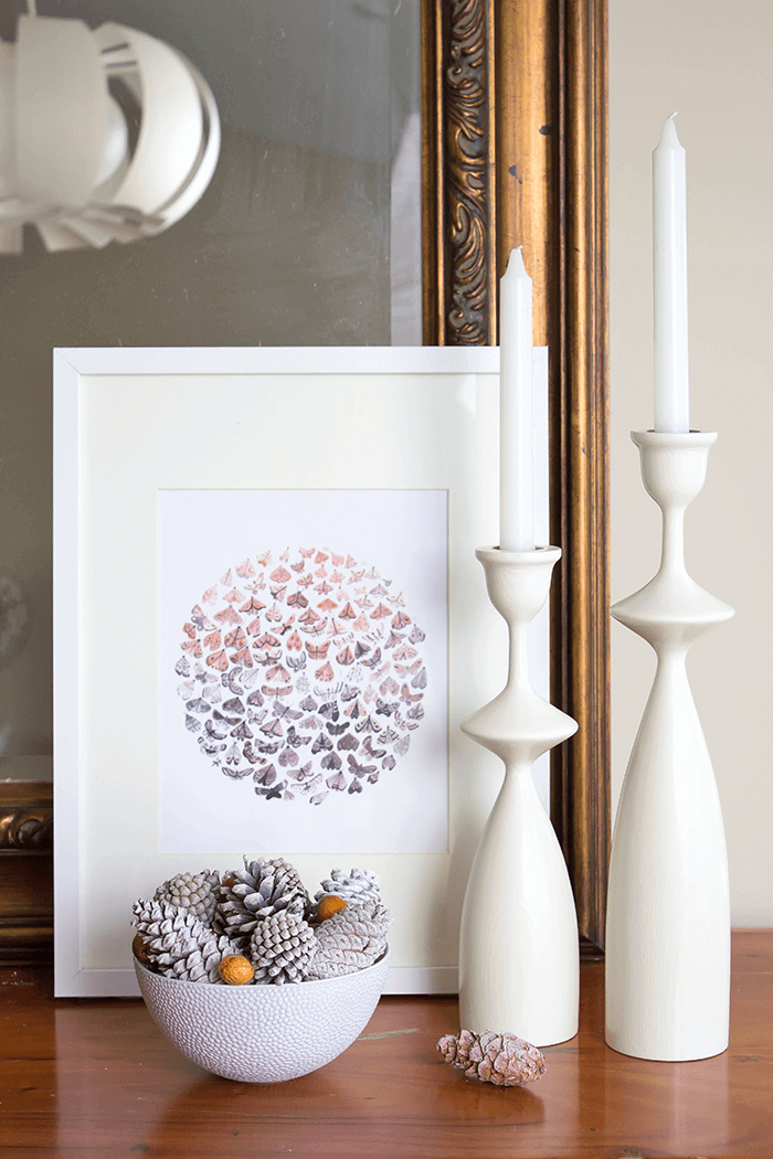 Bowl filled with pinecones | spray painted | fall decorating