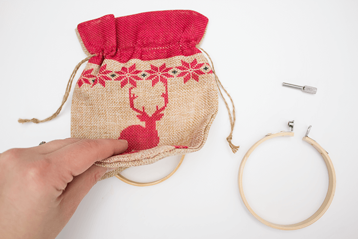 2016 Ornament Exchange - Statement Embroidery Hoop Ornament - place inner hoop under material