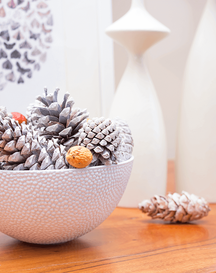 Affordable and stylish fall decorating need not be complicated! With a dollar store bowl, pinecones, nuts and a can of spray paint, create this lovely pinecone decor. Add to your favourite vignette or create your own centerpiece. Simple decorating at its best!