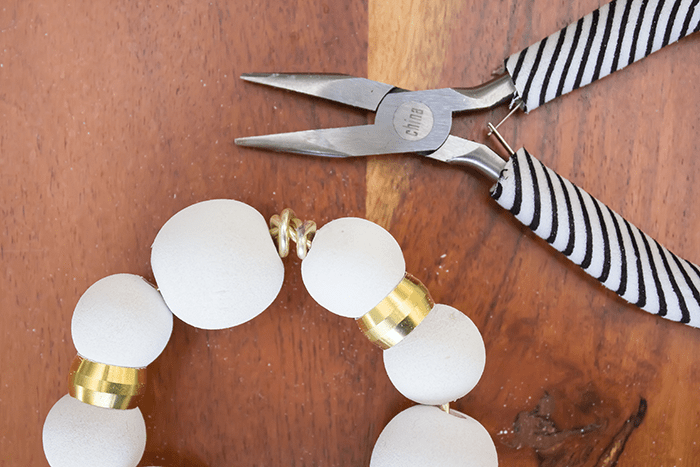 DIY Wood Bead Christmas Ornaments - clip off wire ends.