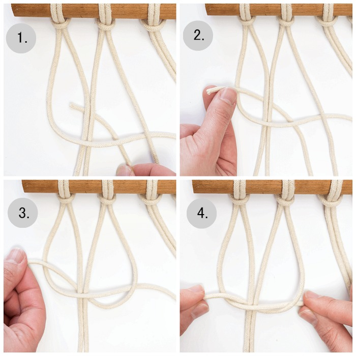 DIY Mini Macrame Wall Hanging: creating the top of the square knot.