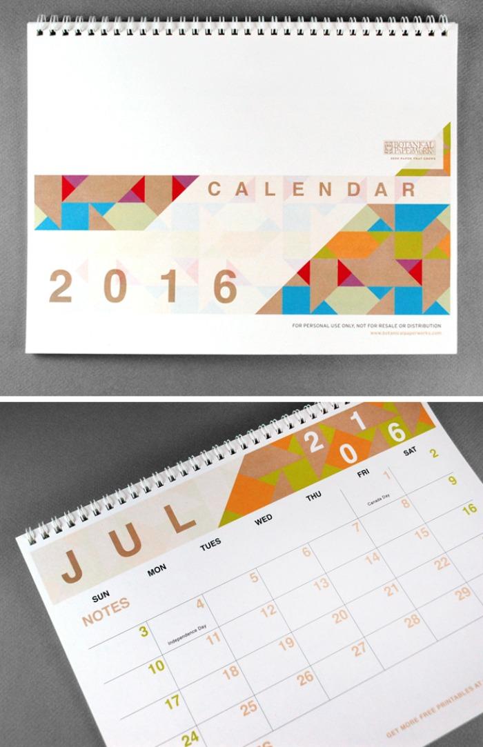 2016 Free Calendar - Botanical Paperworks
