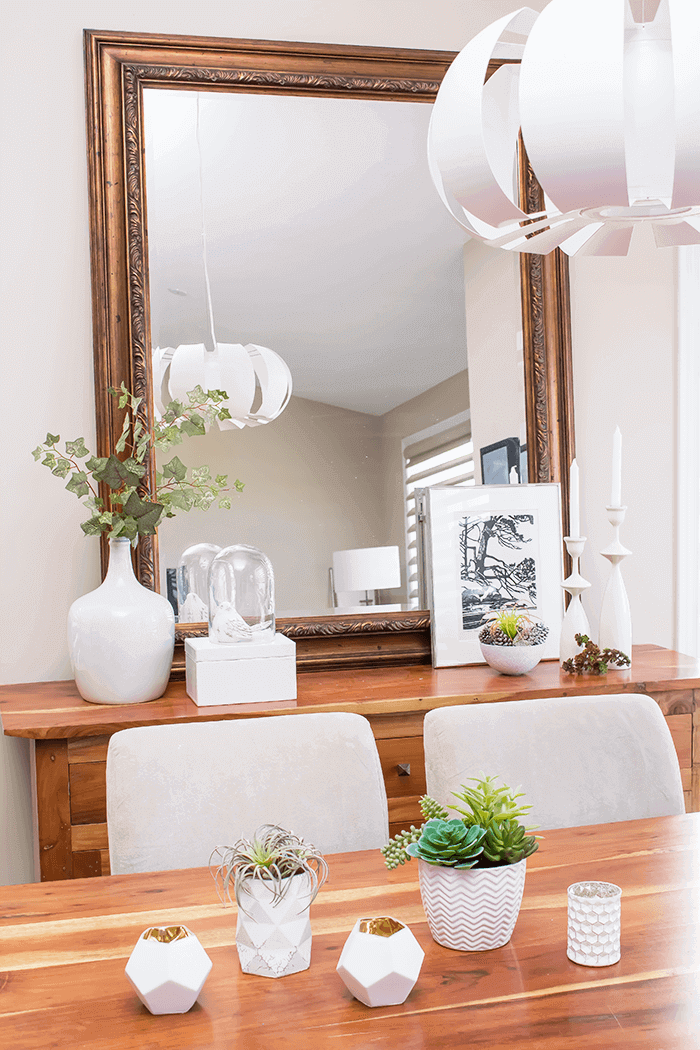 simple spring vignettes with touches of greenery