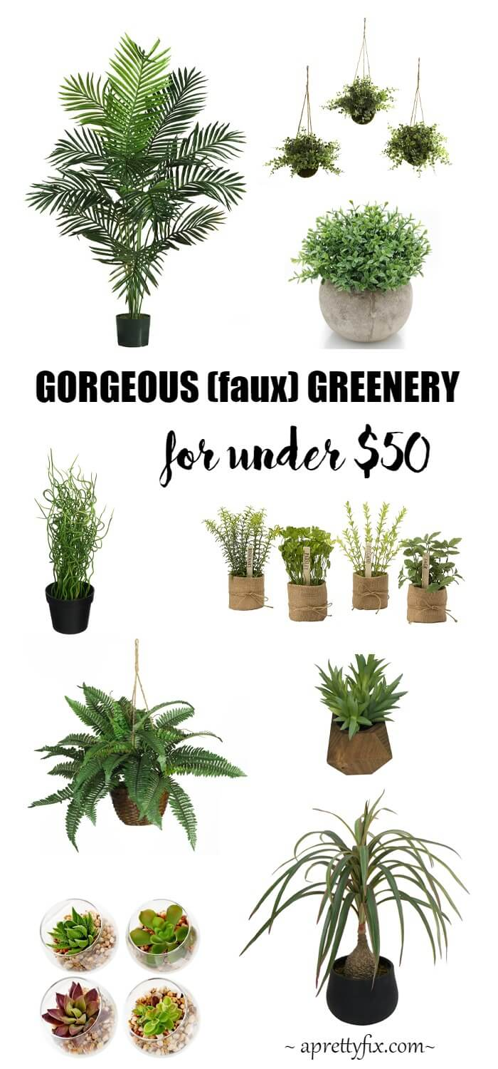 From hanging baskets to potted plants, this round up of faux greenery for under $50 is sure to liven up any porch, patio or indoor space! // aprettyfix.com