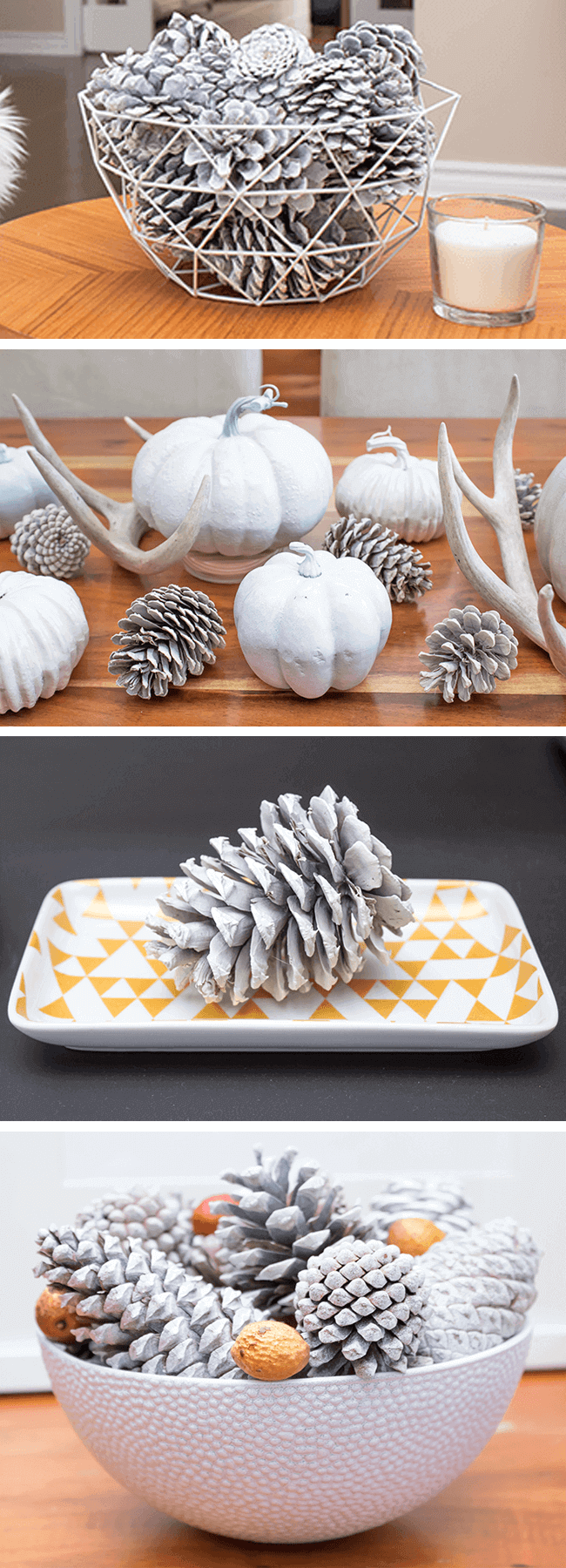 Simple White Pinecone Decor Ideas | Stylish pinecone decor ideas with a Scandi-boho vibe | Fresh farmhouse decorating on a budget | DIY | Home Decorating