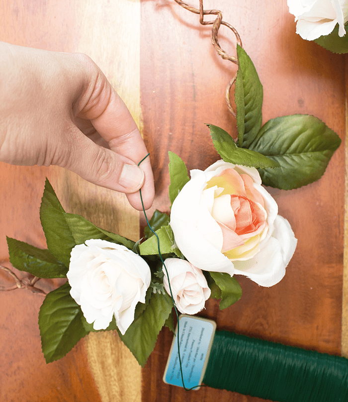 add flowers - wreath DIY