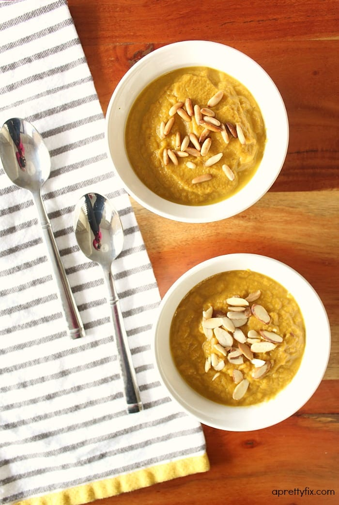 This thick and savoury pumpkin soup is a healthy and easy recipe to make for your family. Dairy-free, gluten-free, paleo and vegan.