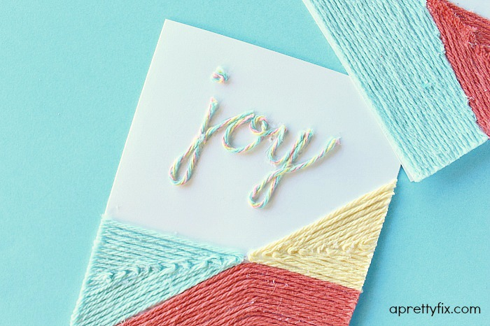 DIY Yarn Embellished Card.