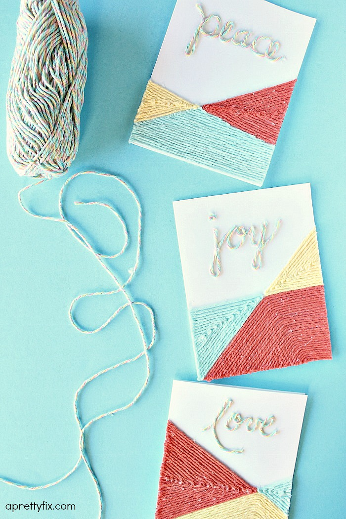DIY Yarn Embellished Cards.