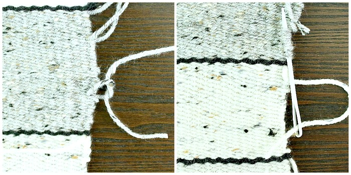 DIY Woven Pillow - tie or weave in loose yarn threads.