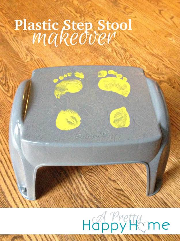 Plastic step stool makeover