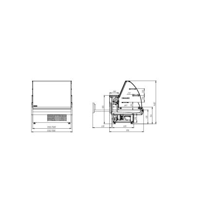 Чертеж холодильной витрины Muza-Kдля хранения ассортимента напитков и продуктов питания. Сделать заказ на apricot.