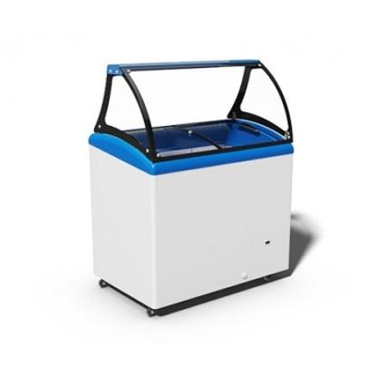 Вітрина для морозива JUKA M300SL. Панорамне скло загартоване, має вигнуту форму з антибліковим ефектом. ⚑ Купити на apricot.