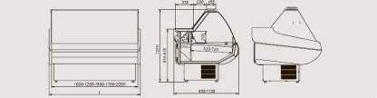 Креслення універсальної вітрини Siena з плоским склом, шириною 0,9 м. Відмінно підійде для зберігання різної продукції.