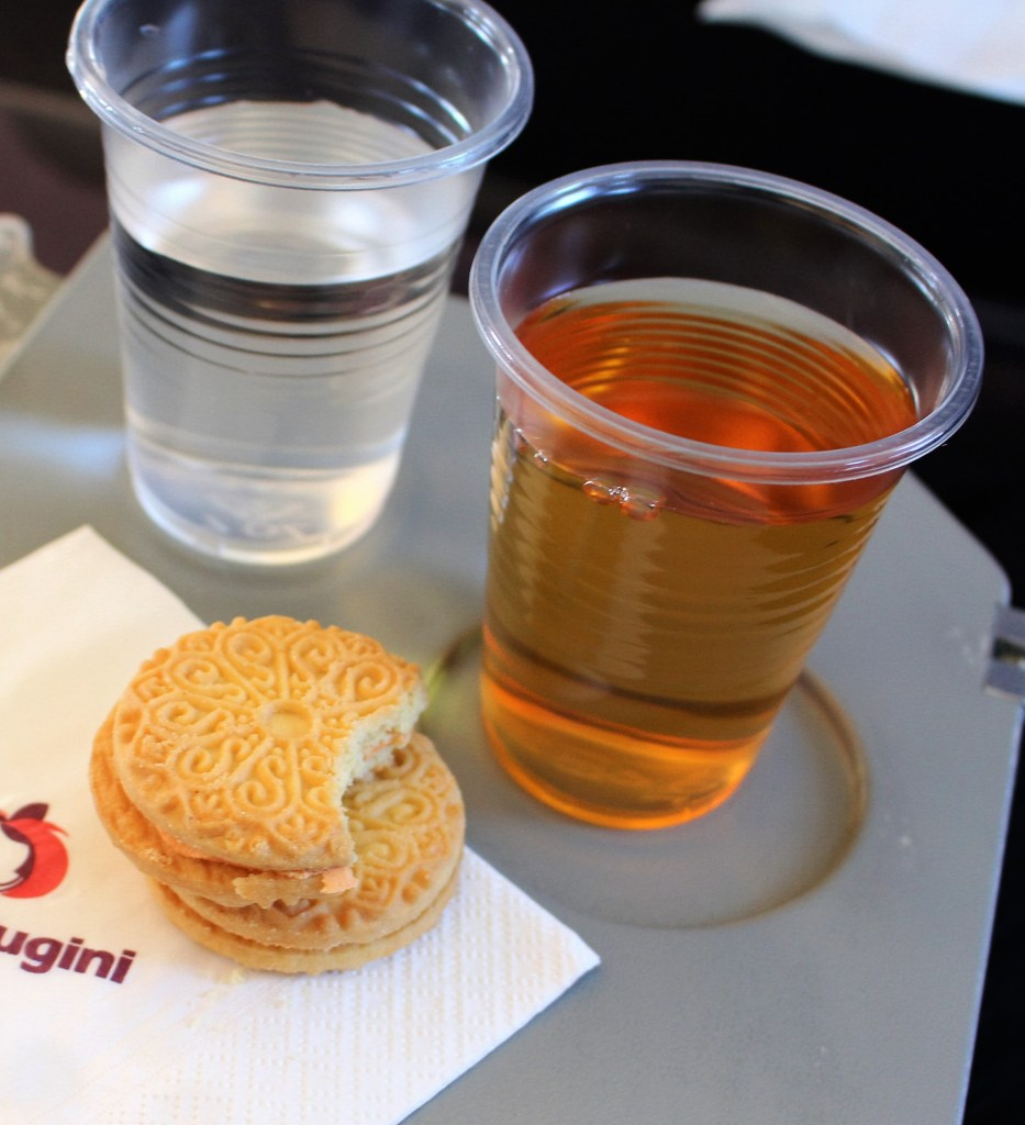 Cookie and Apple Juice on Plane