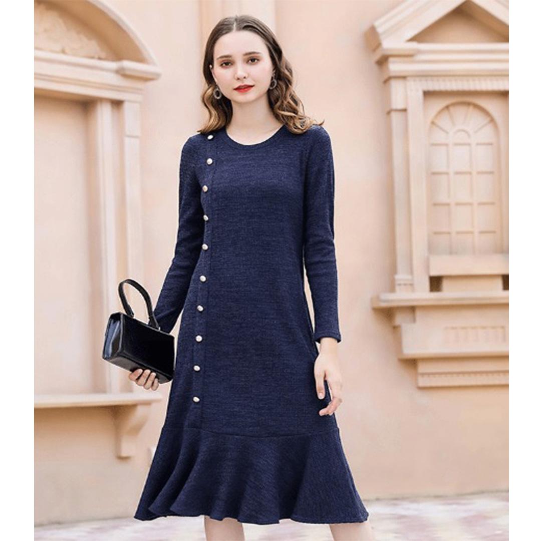 Women Navy Blue Slimming Ruffle Hem Tunic Plus Size Winter Dress  Apricus Fashion  Premiere