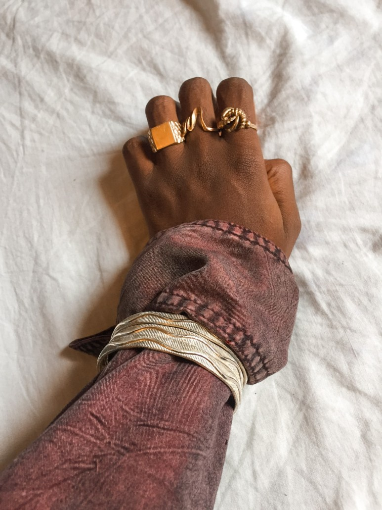 flatlay picture wearing rings