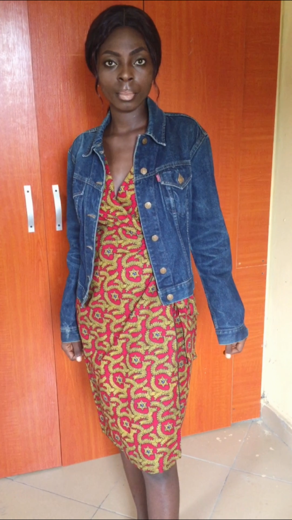 Wrap dress styled with a jean jacket