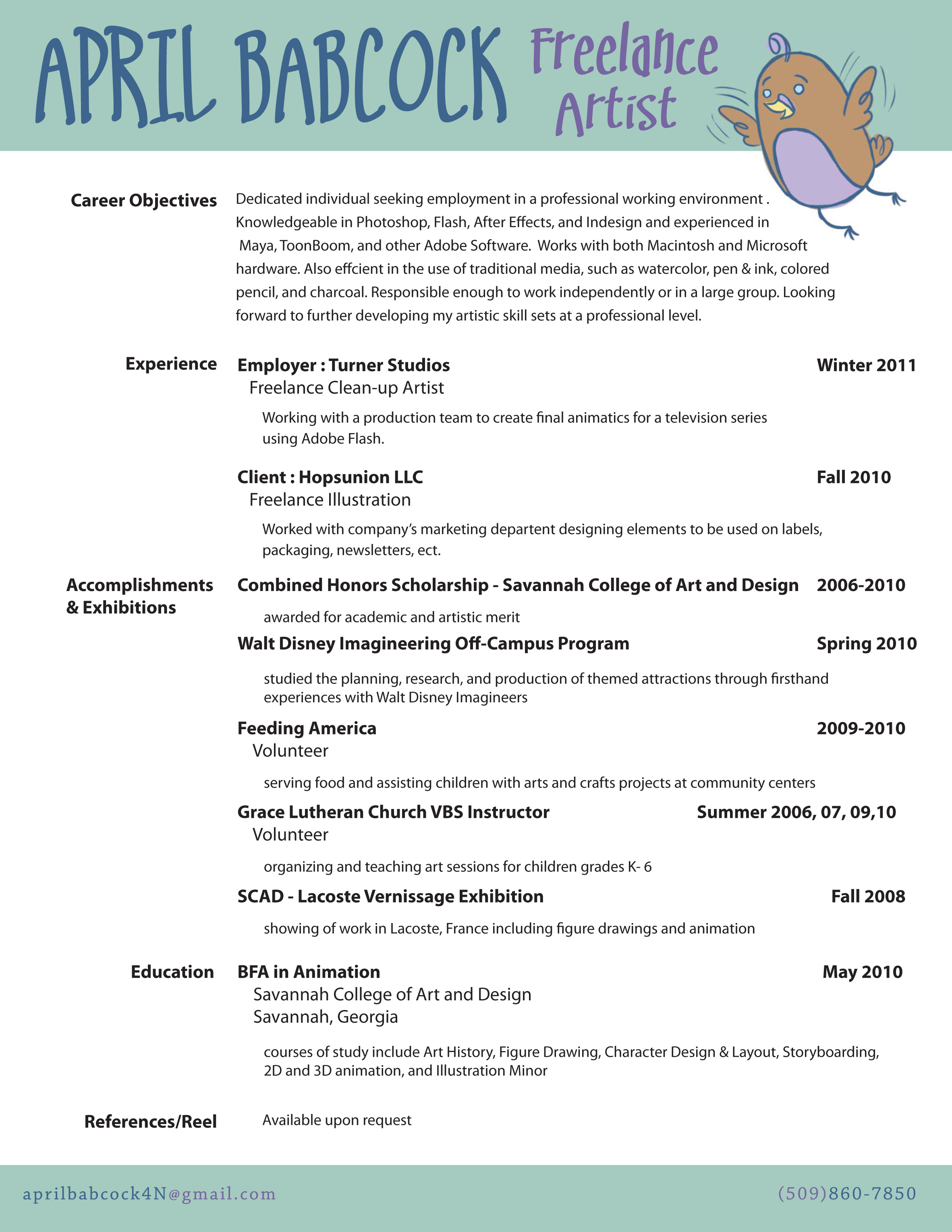 Resume Format For Makeup Artist Résumé April Babcock Concept Artist